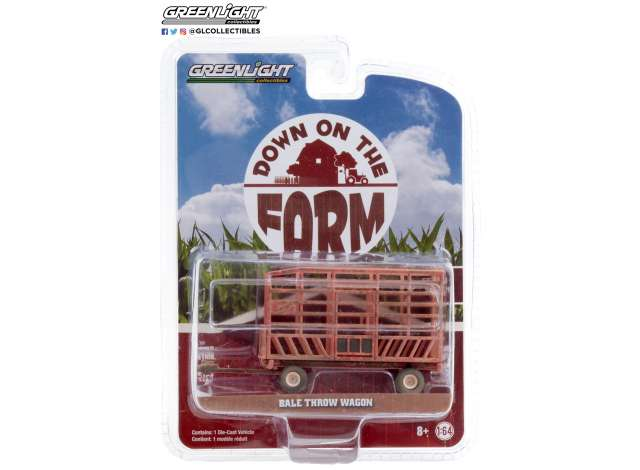 Bale Throw Wagon Weathered Red - 1:64