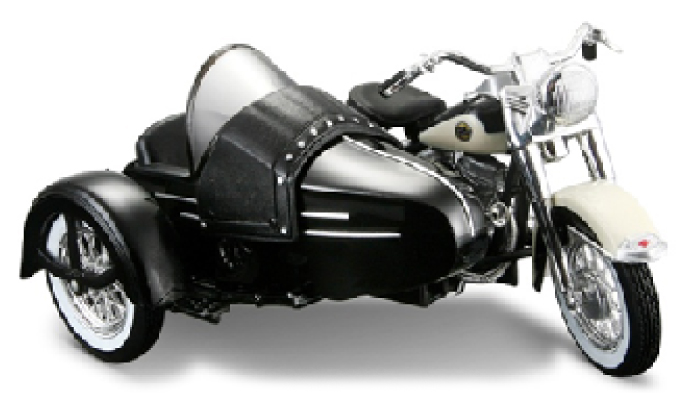 Harley-Davidson FLH Duo Glide 1958 with Sidecar Black/White