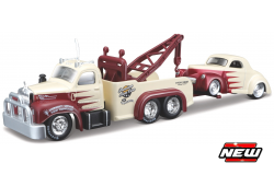 Mack B-61 1953 + Willys 1941 Rood/Creme - 1:64