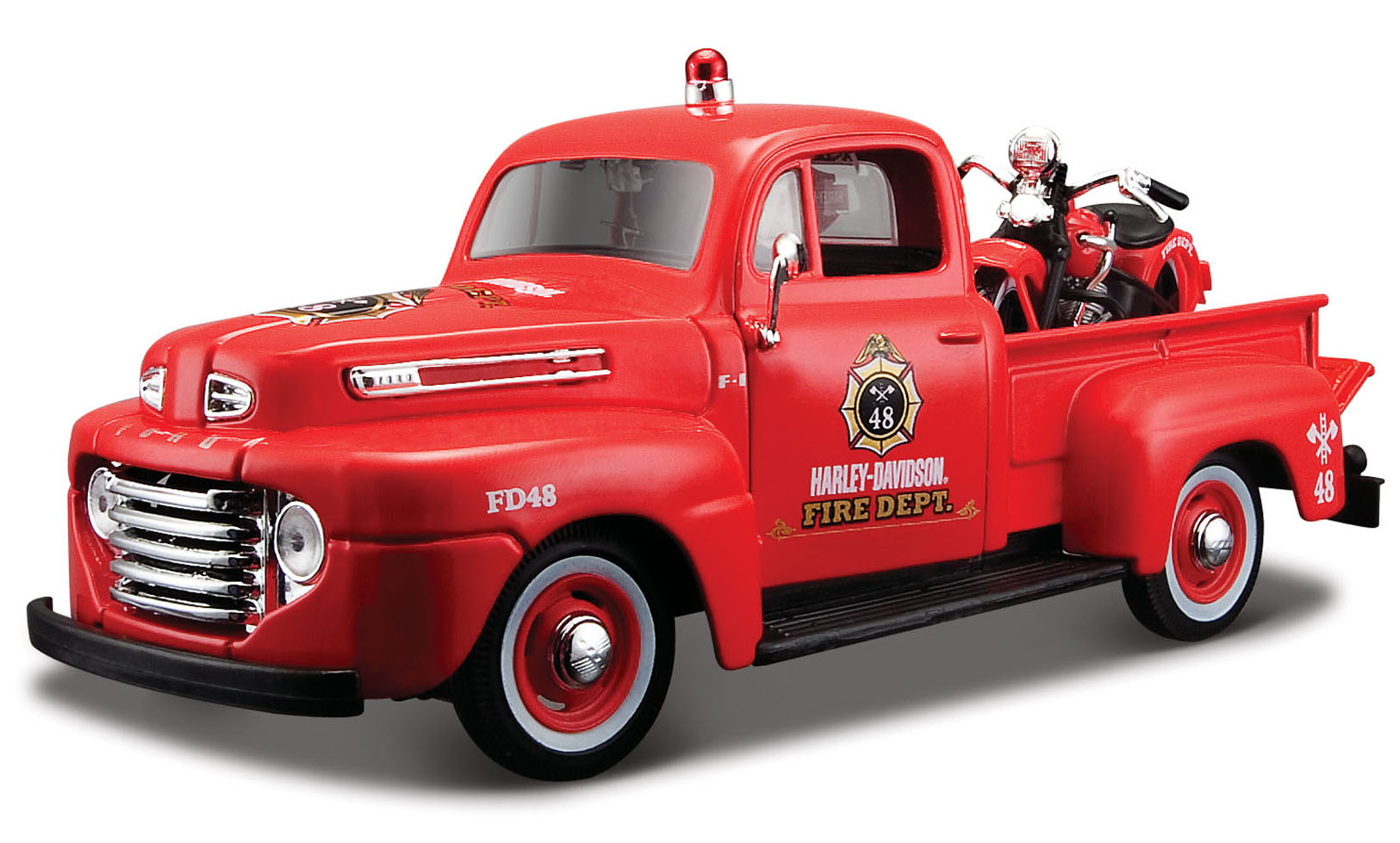 Ford F-1 Pick-Up 1948 met Motor Rood - Harley Davidson