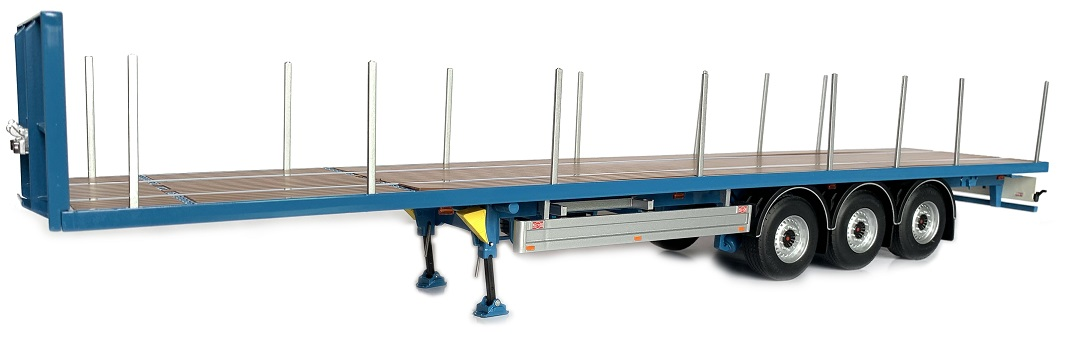 Pacton Flatbed trailer Blauw