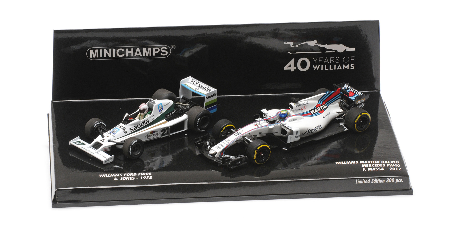 2 car set Williams FW06 Jones 1978/Williams FW40 Massa 2017 40th Anniversary