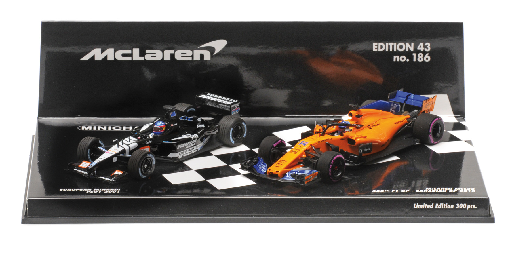 2-Car Set European Minardi PS01 2001 + McLaren Renault MCL33 Canada GP 2018 F. Alonso