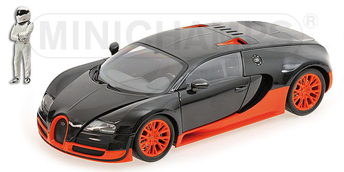 Bugatti Veyron Super Sport 2010 Carbon/Orange Top Gear Edition with Figurine of The Stig