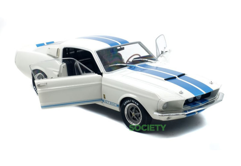 Ford Mustang GT500 Wit/Blauw - 1:18